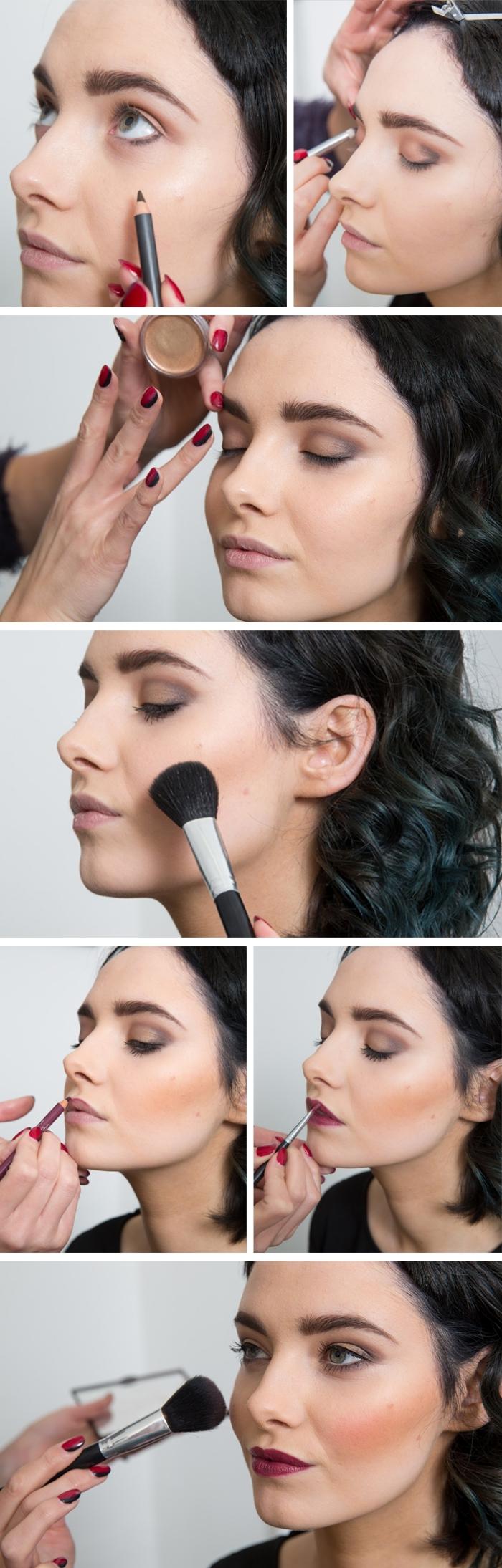 étapes à suivre pour réaliser un maquillage de Noël traditionnel aux lèvres rouge foncé, exemple de makeup noel à la maison