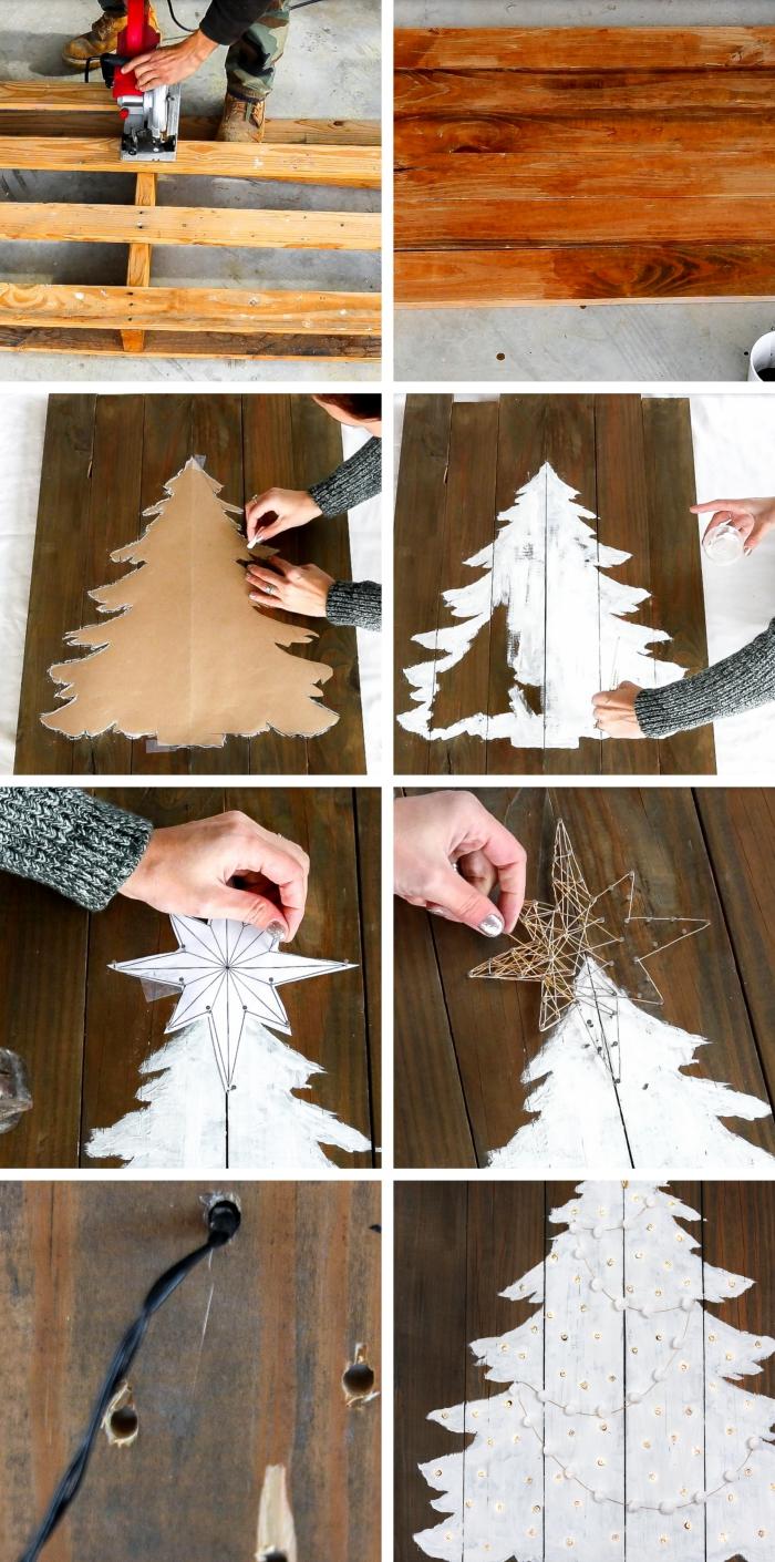 comment faire un sapin noel bois, idée de panneau de noel décoratif en bois foncé avec peinture sapin blanc et trous pour guirlande lumineuse