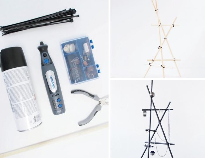 modèle de porte collier fait main de style moderne, exemple d'organisateur pour bijoux de style industriel en bâtons noir mat