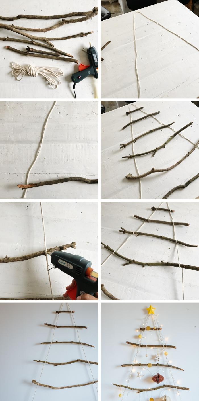 étapes à suivre pour réaliser une deco de noel en bois, pas à pas fabrication de suspension murale en forme sapin