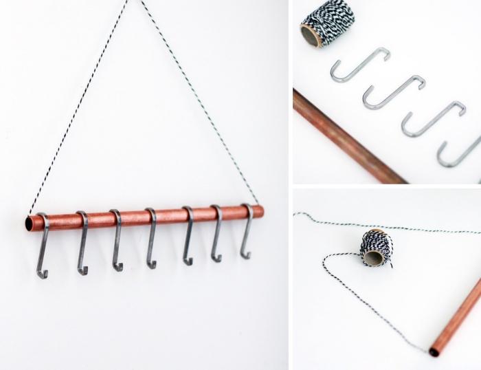 étapes à suivre pour faire une suspension murale pour bijoux avec crochets, porte bijoux mural fait maison en métal