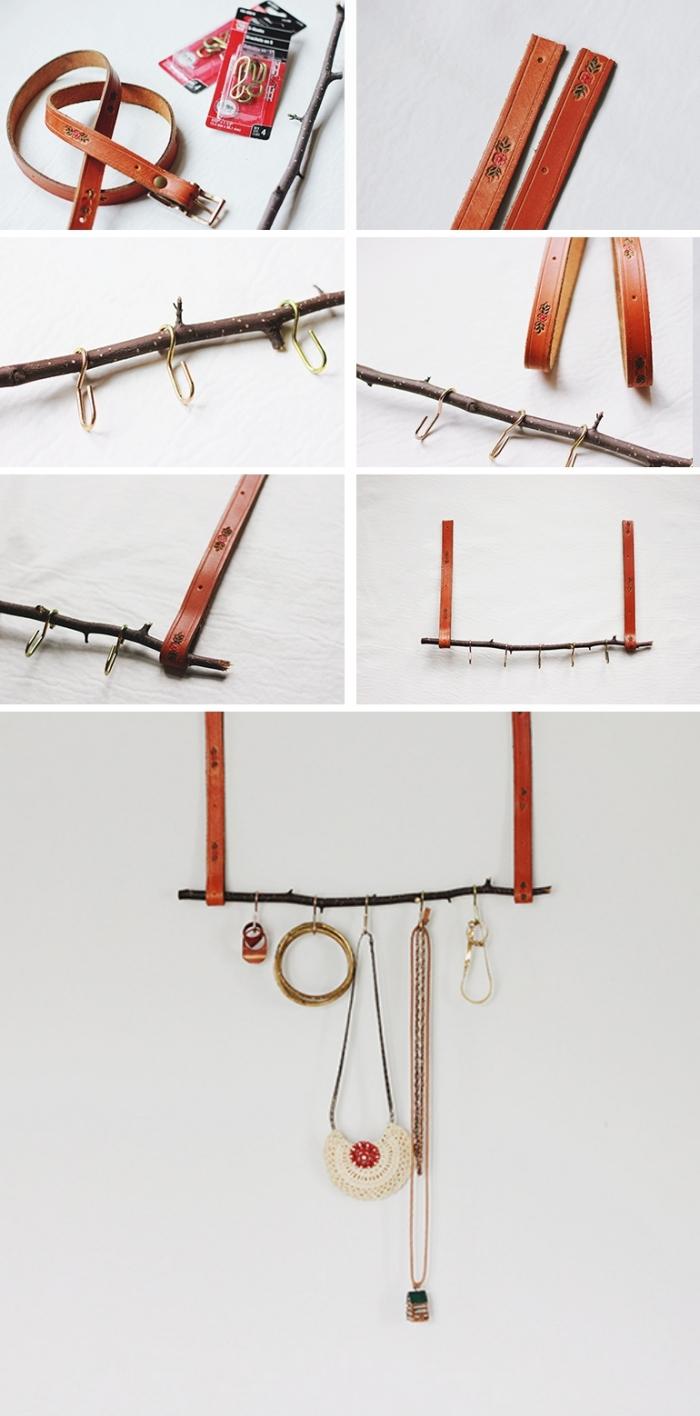 DIY porte bijoux mural, étapes à suivre pour réaliser une suspension murale en bois et cuivre avec crochets pour colliers