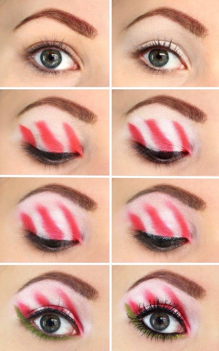 pas à pas facile pour apprendre a se maquiller les yeux pour Noël, technique makeup noel aux paupières blanc et rouge avec crayon vert
