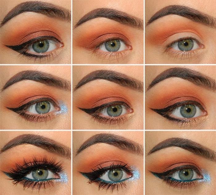 réaliser un maquillage festif pour noel avec fards à paupières marron et crayon yeux turquoise, pas à pas makeup noel pour yeux verts