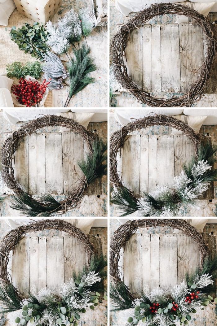 décoration de noel à fabriquer soi meme, modèle de couronne de Noël fait maison avec branches séchées et fausses baies