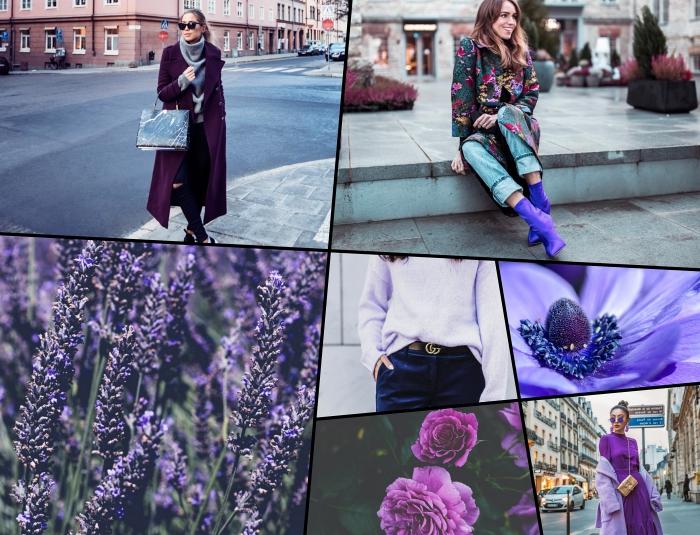 nuances de violet dans la tendance hiver 2020, paire de chaussures à talons de nuance violet, modèle de manteau long femme de couleur violet foncé