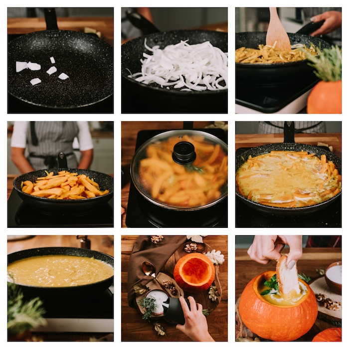 veloute potimarron a faire soi meme etape par etape, soupe butternut hiver aux oignons, potimarron, romarin servie dans un potimarron vidé