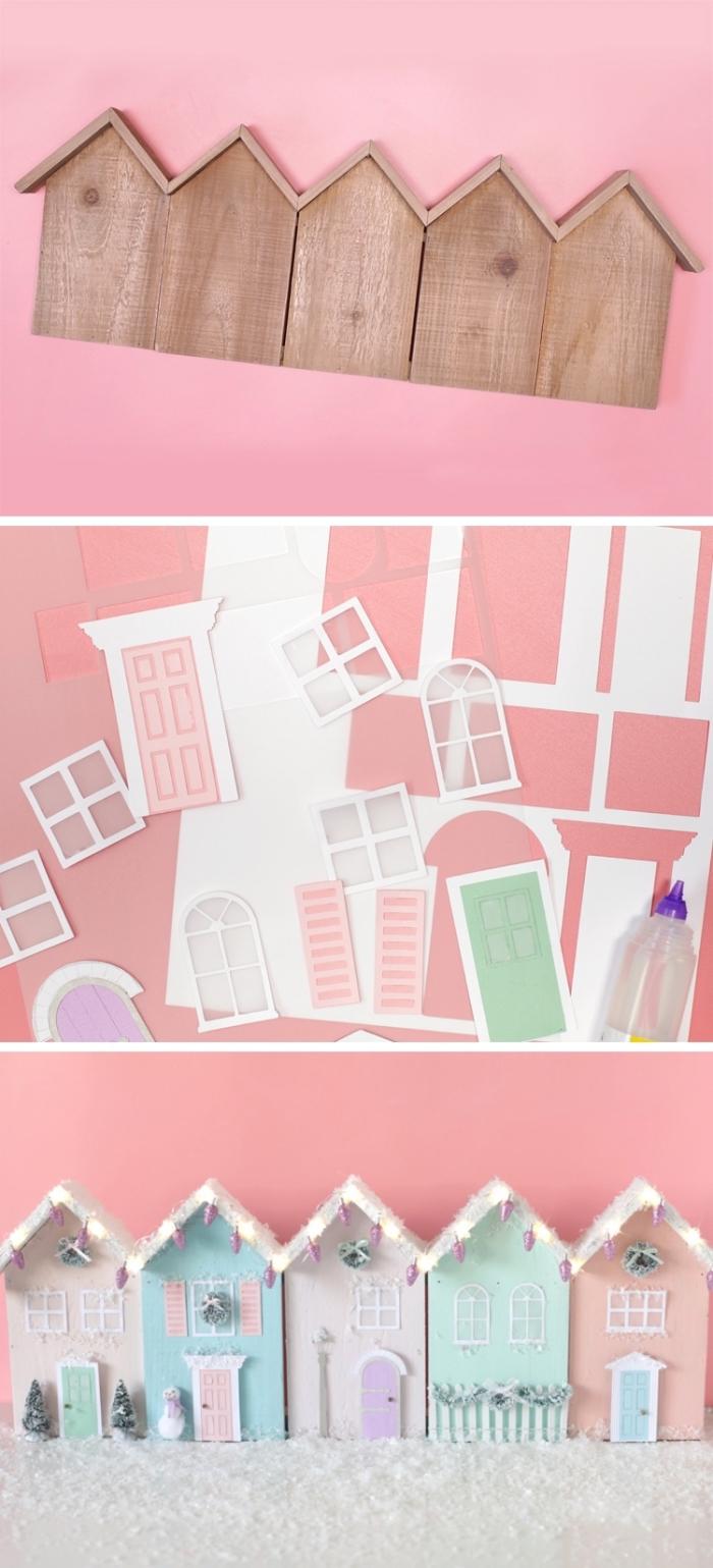 décorations de noël à faire soi même, diy village avec maisons en bois décorées avec stickers autocollants de couleurs pastel