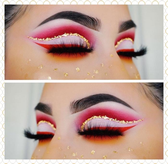 exemple de maquillage de noel festif en rouge et or, idée comment se maquiller les yeux pour noel avec eye-liner et ombre à paupière rouge