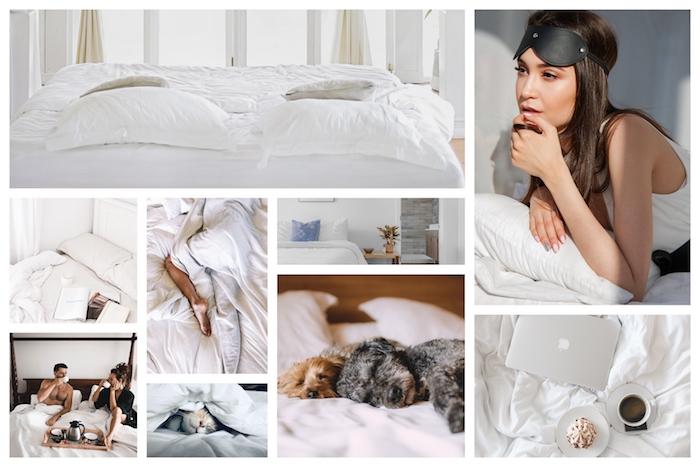 Le confort de son lit, comment choisir le plus confortable matelas, collage de photos au lit