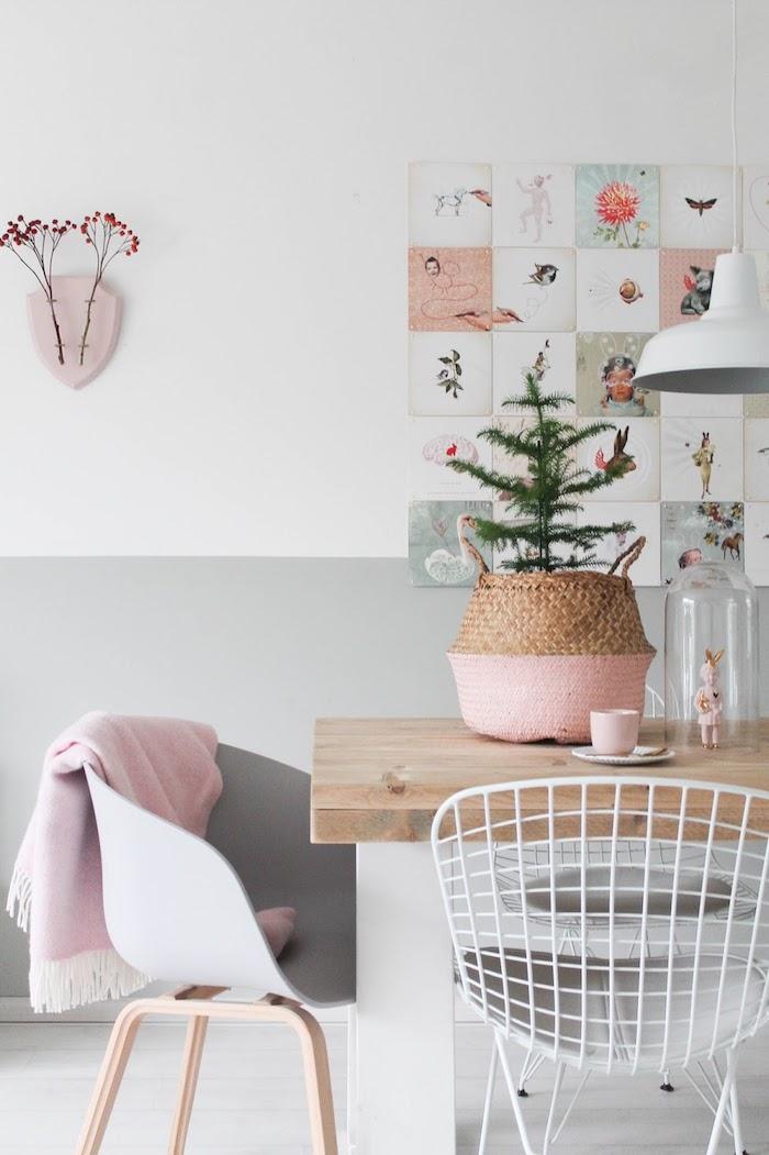 Gris et blanc moitié sur le mur, originale idée pour la salle à manger avec accents en rose pale, idée peinture chambre, peindre un mur deux couleurs