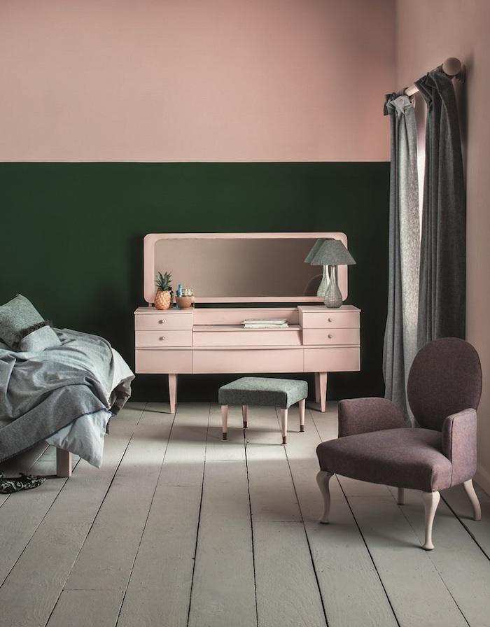 Vert et rose couleur mur chambre, idée peinture chambre à coucher, vintage décoration meubles originaux