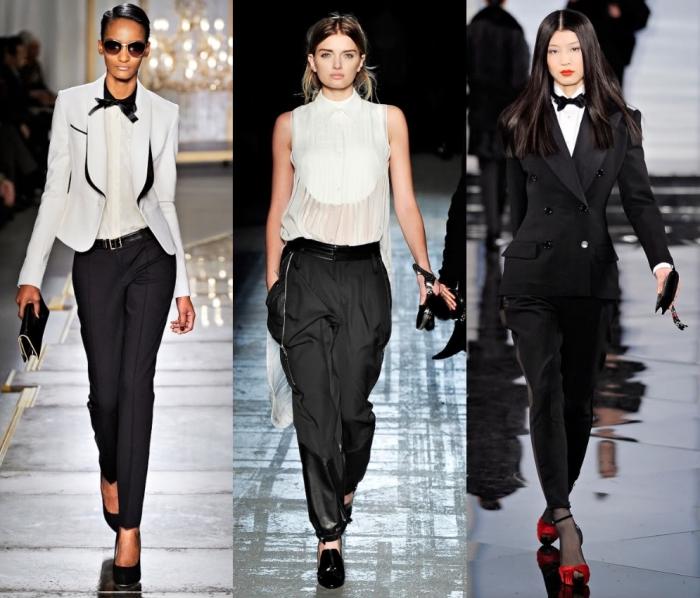 comment bien s'habiller femme en smoking, idée tenue classe femme en pantalon noir slim et blazer smoking blanc