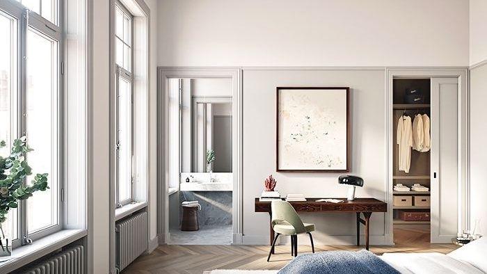 Blanc et gris claire pour la chambre à coucher adulte, ccomment disposer 2 couleurs dans une chambre, peinture chambre adulte