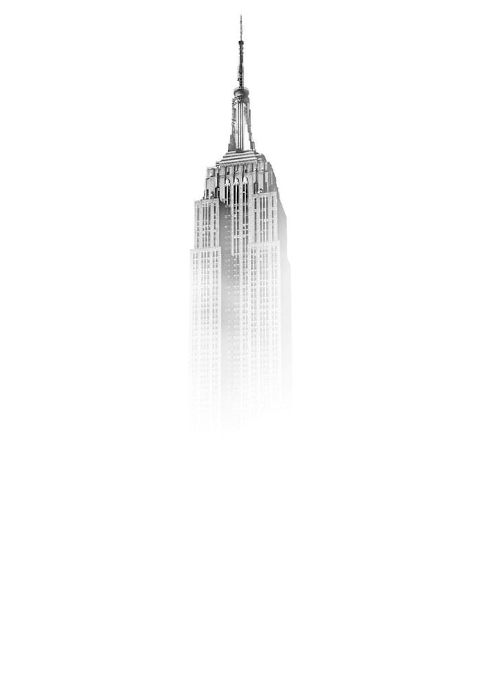 New York bâtiment gratte ciel historique, empire state building graphique dessin idée fond d'écran noir et blanc, idée fond ecran stylé