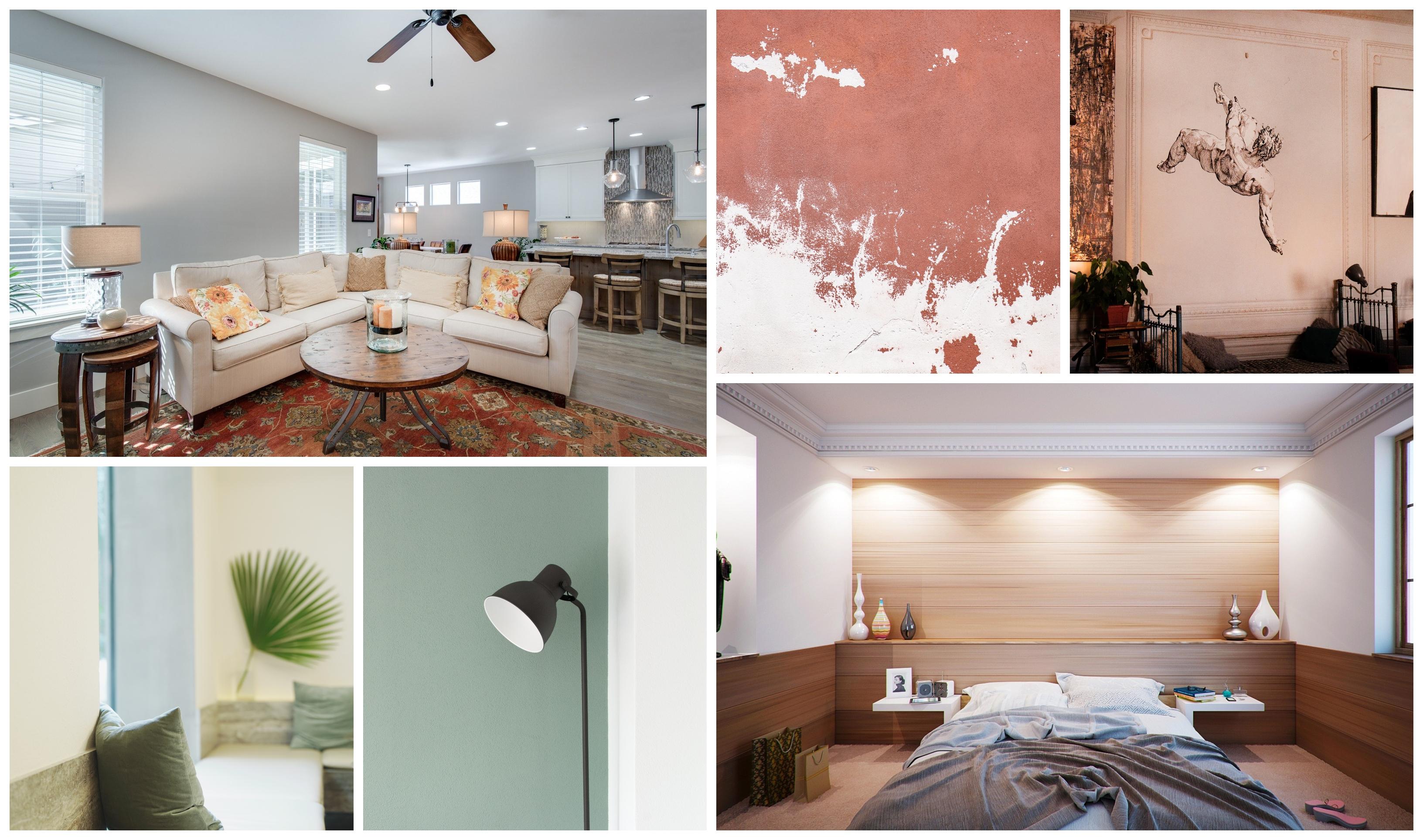 Collage différentes associations couleurs, idée chambre gris et bleu, peindre une chambre en deux couleurs