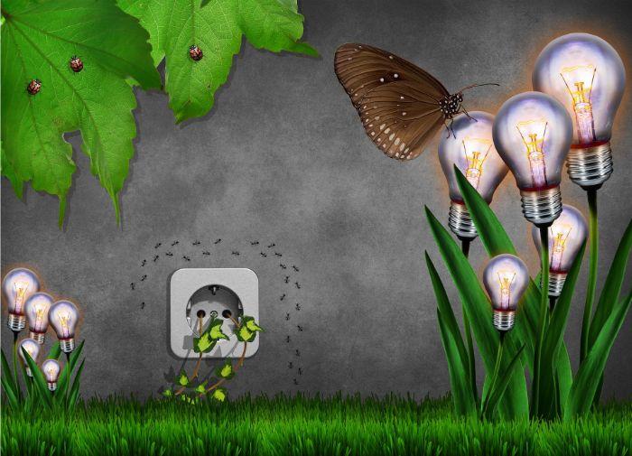 pelouse verte, fleurs faits par des ampules éléctriques