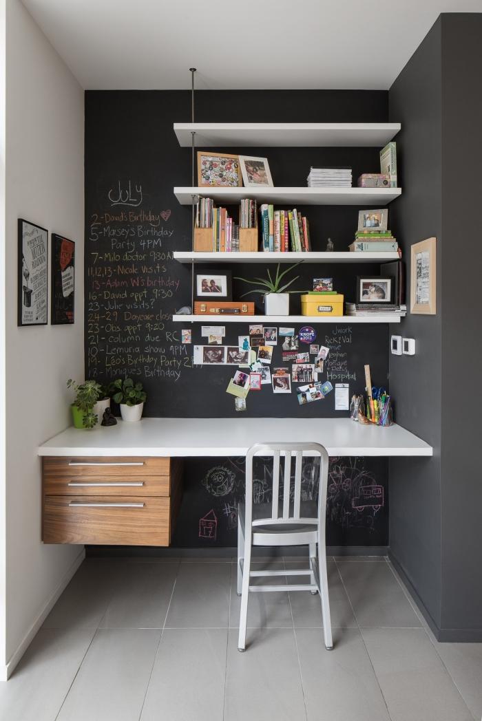 comment transformer un petit couloir en coin de travail domicile, modèle de meuble diy en version bureau suspendu blanc et bois