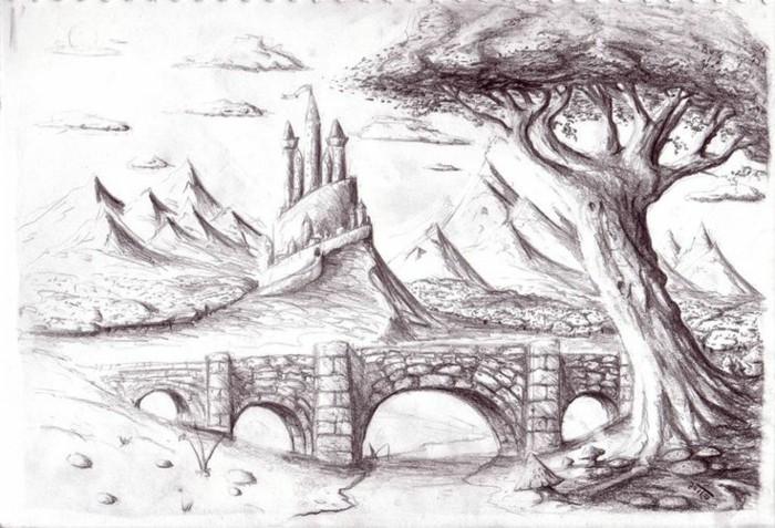 exemple de dessin de paysage facile à reproduire à l'aide de la technique d'ombrage, dessin au crayon sur papier