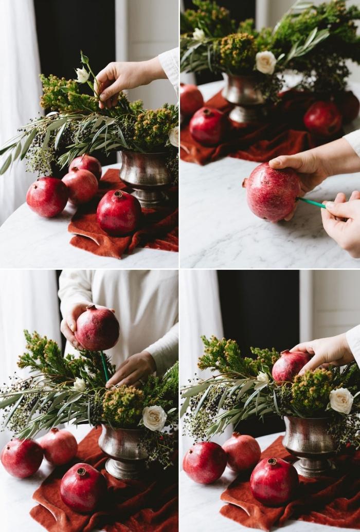exemple comment faire un arrangement avec grenades et feuilles d'oliviers, deco de noel a faire soi meme avec branches et fleurs