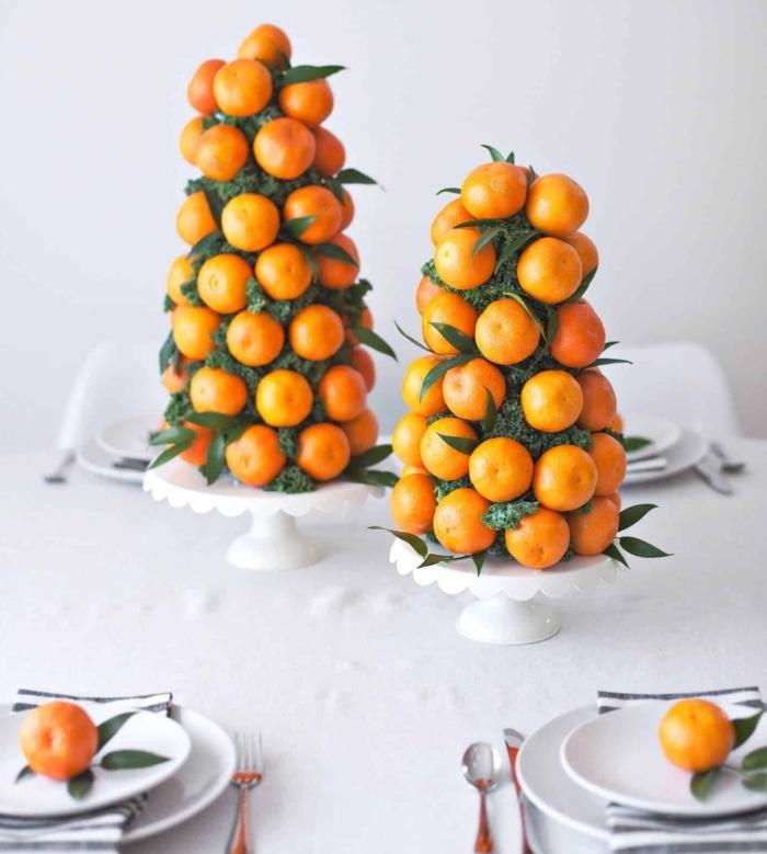 décoration de noel à fabriquer soi meme avec fruits, modèle d'arbre de Noël diy avec clémentines et chou kale