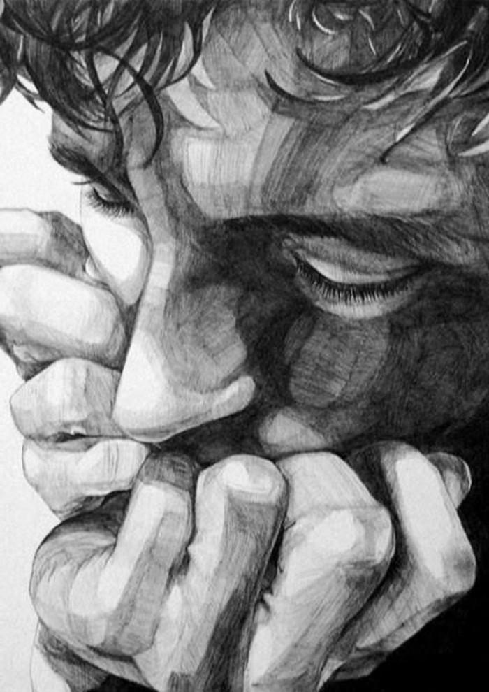apprendre à dessiner un visage masculine au crayon, technique de dessin au crayon, idée de dessin crayon papier
