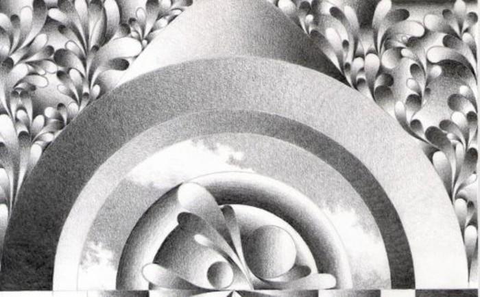 comment faire un dessin crayon papier en blanc et noir, modèle de dessin abstrait aux courbes et volutes au crayon