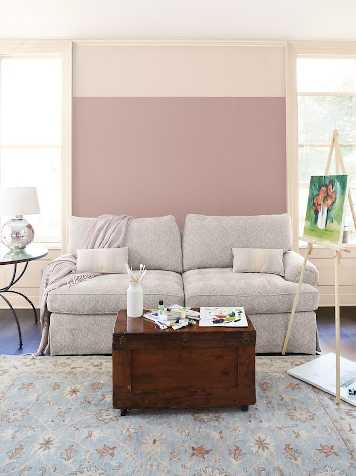 Rose et beige pour le salon sol bleu, couleur de peinture pour chambre, couleur mur chambre moderne