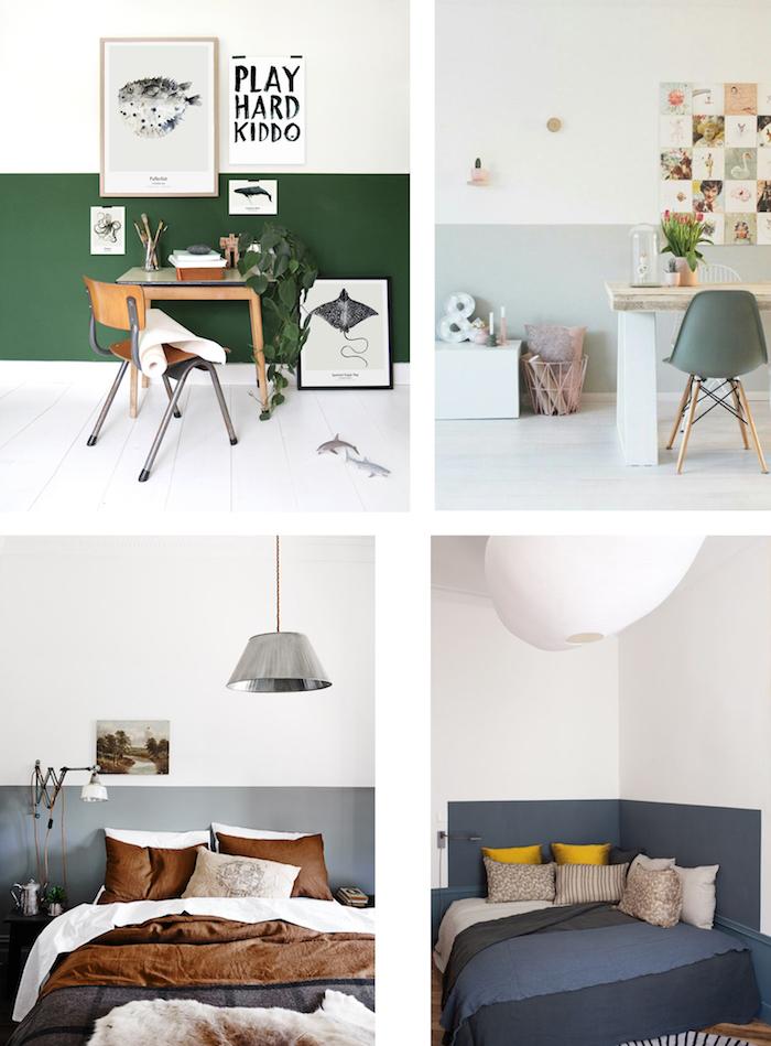 Idée couleur peinture chambre, quelle couleur pour une chambre stylée, quatre idées comment aménager un coin bureau dans la chambre à coucher deux couleurs