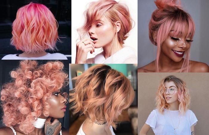 Coupe de cheveux femme 2020 moderne, différents modèles de coiffure pour femme à couleur blorange tendance rose pink cheveux