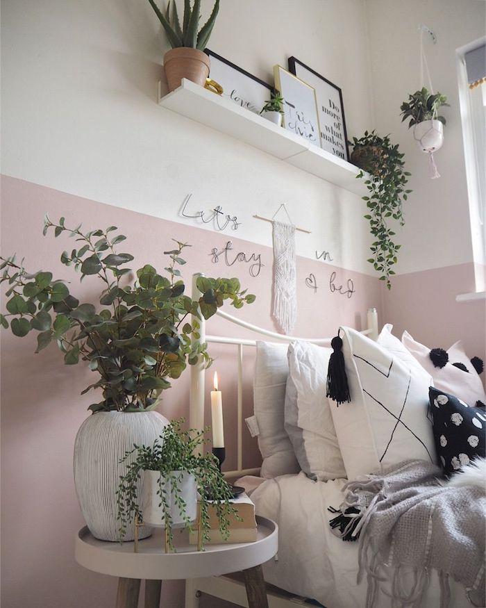 Rose et blanc couleur chambre adulte, deco chambre peinture, salon design moderne, hippie chic déco bohème