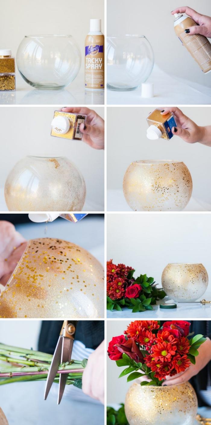 tutoriel comment personnaliser un vase avec peinture glitter de nuance dorée, idee deco table de noel à faire