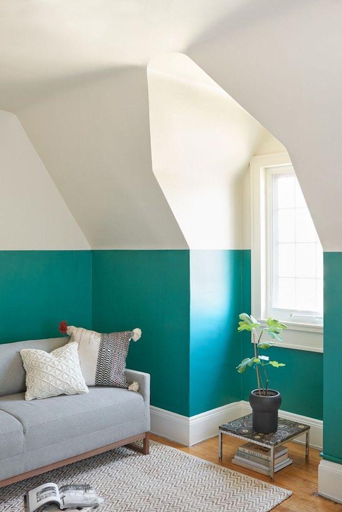 Tapis blanche sur parquet en bois, idée couleur mur chambre, image couleur chambre parentale chic déco