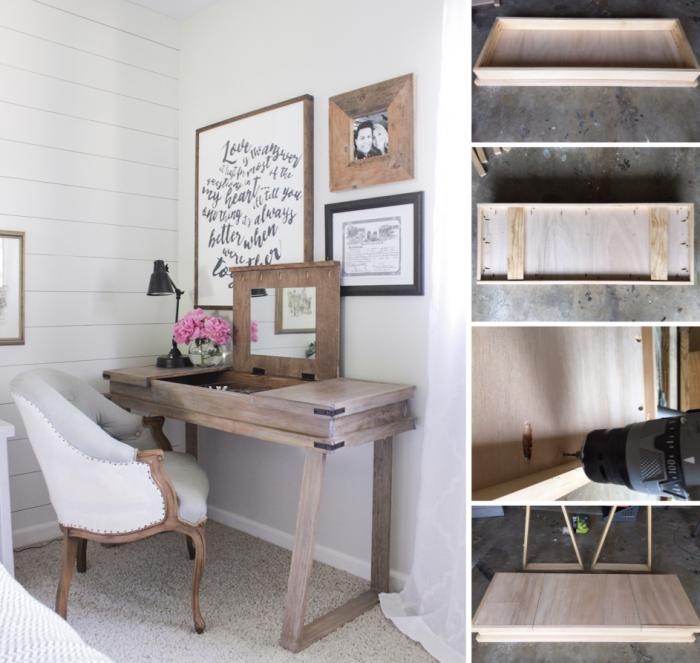 comment faire un bureau avec rangement fermé et miroir, idée déco de chambre fille avec meubles diy en bois foncé