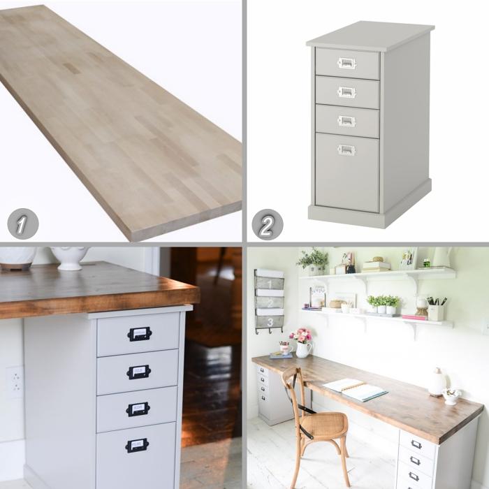 idee bureau à réaliser soi-même avec planches de bois et caissons à tiroirs repeints en blanc, diy bureau à domicile en blanc et bois