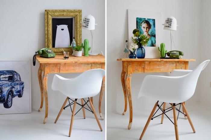 modèle de bureau fait maison avec un table bois recyclée, déco chambre blanche avec meubles en bois recup