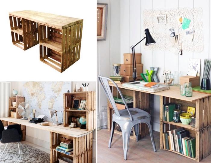 bureau fait maison avec cagette bois, idée comment créer un bureau en bois facile avec cagette et planche de bois
