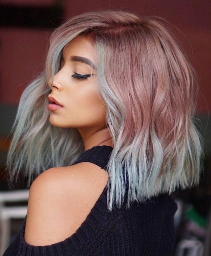 Ombré cheveux mi longs en carré, coupe cheveux mi long, coiffure tendance pour femme moderne gris et rose