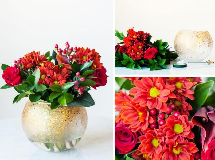 idée comment decorer sa maison pour noel avec un objet personnalisé, modèle de vase rond customisé avec peinture pailletée