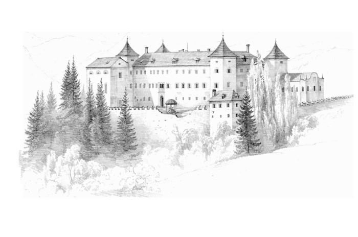 dessin blanc et noir sur le thème paysage conte de fée, apprendre à dessiner facilement un paysage naturel au crayon