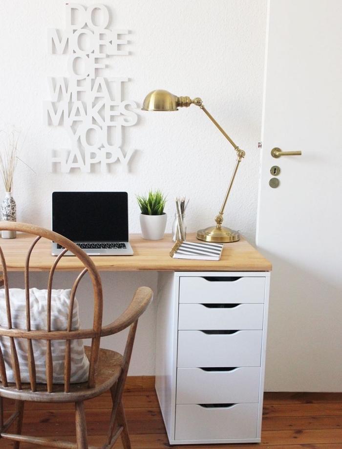 comment faire un meuble avec plan de travail bureau bois et caissons, aménagement coin de travail à domicile en blanc et bois