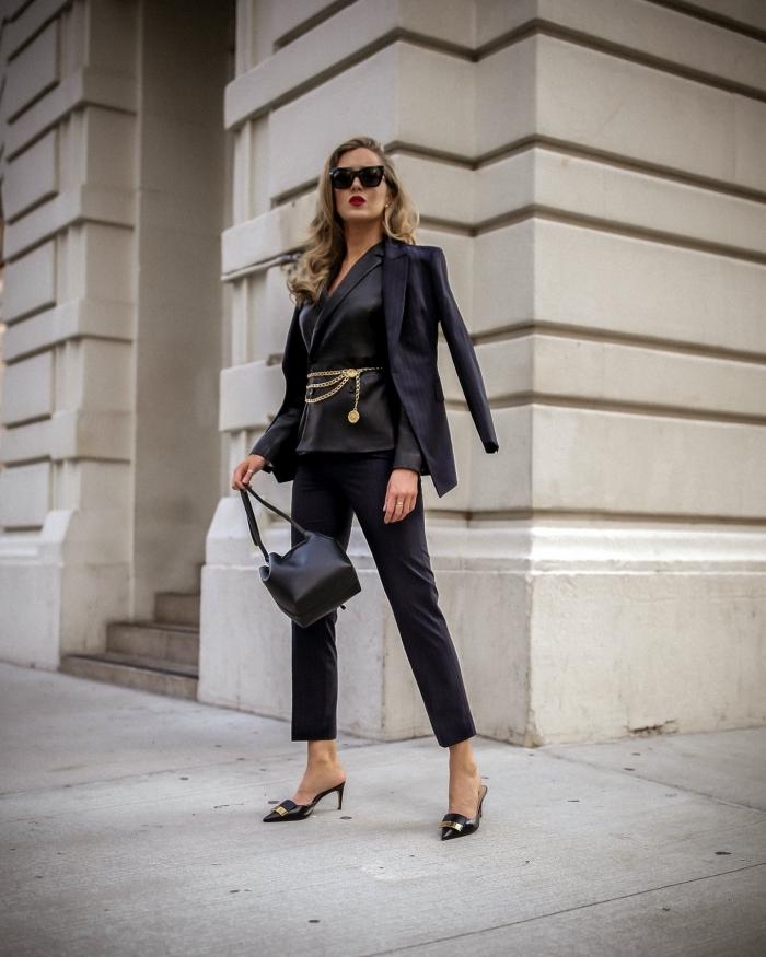 look total noir femme en tailleur pantalon femme chic, modèle de costume élégant 3 pièces de couleur noire pour femme