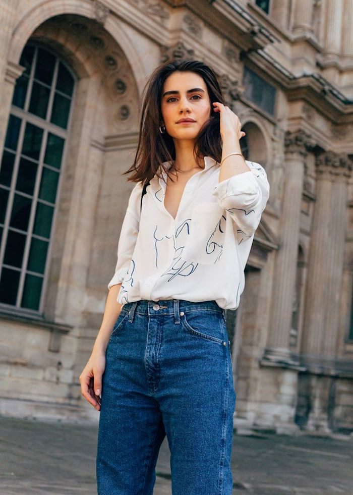 Chemise blanche à motif art, jean boyfriend vetement americain street style new york, vetement sport femme