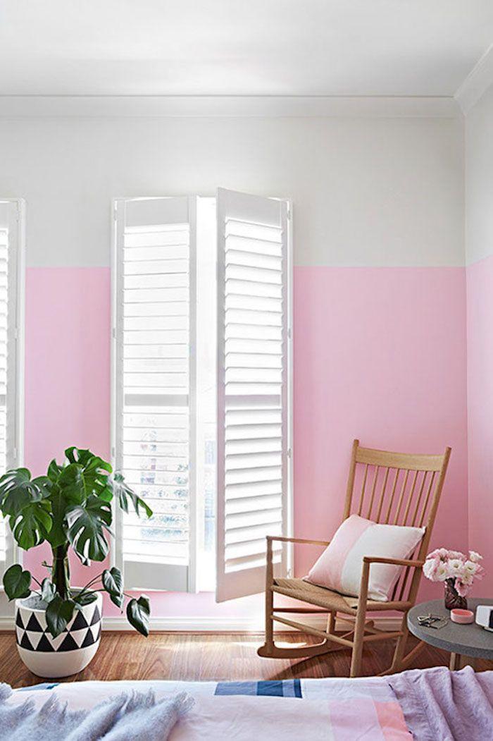 Rose et blanc deco peinture chambre, idée quelle couleur pour la chambre à coucher, chaise balançoire