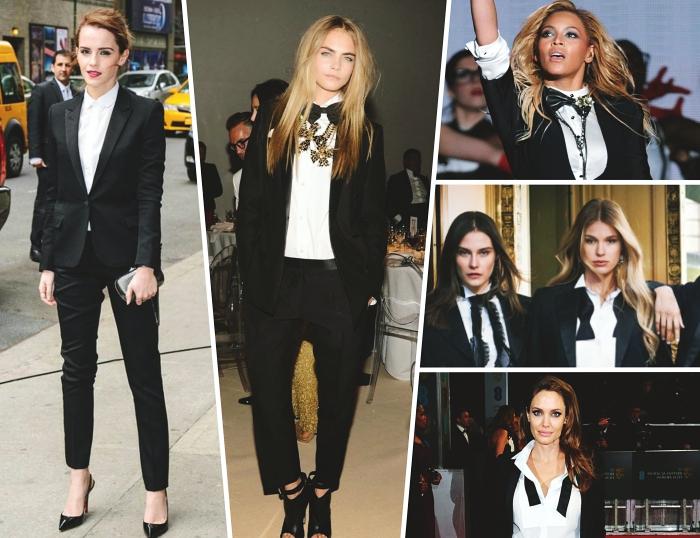 idée look stylé en ensemble blazer femme de couleur noir combiné avec chemise blanche et accessoires pochette et chaussures noires