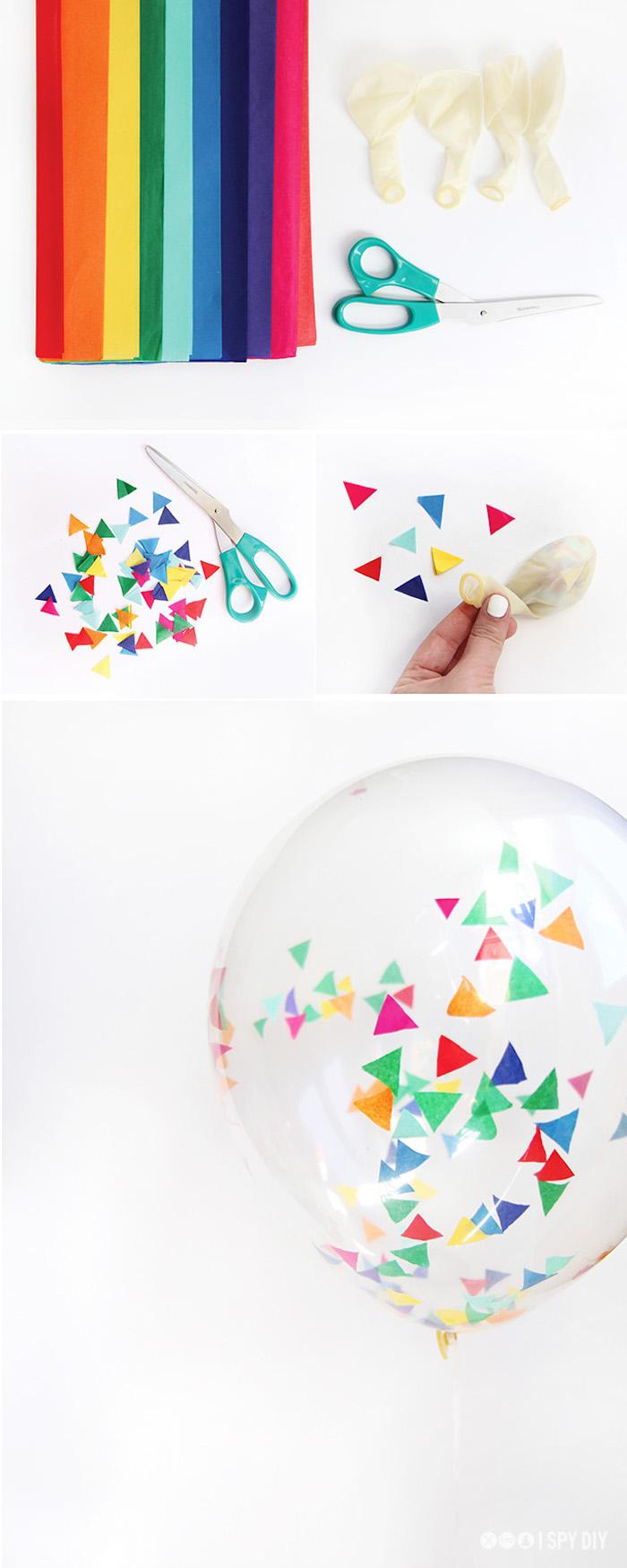 idee pour faire des ballons décorés de confettis colorés de papier de soie, deco jour de l an a faire soi meme