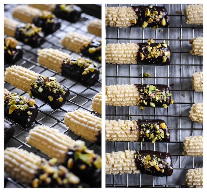 biscuit de noel alsacien style bredele alsacien au chocolat et pistaches concassées, exemple dessert de noel