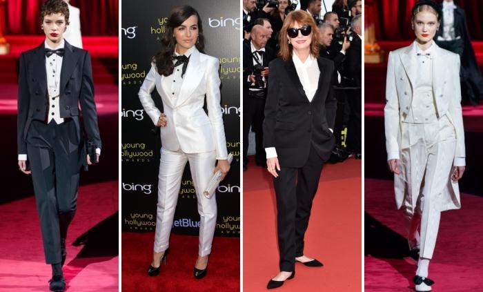 tenue stylée en tailleur pantalon femme de couleur neutre, modèles de smoking blanc femme avec chaussures et papillon noirs