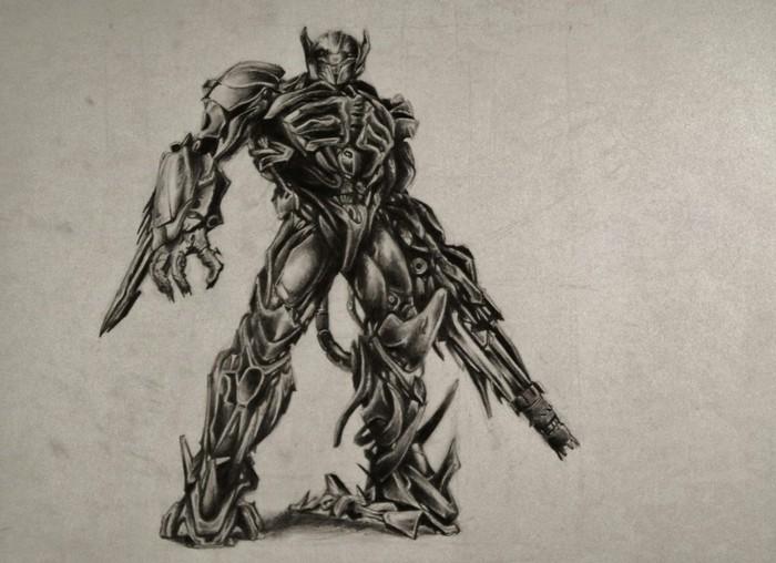 idée de dessin compliqué à réaliser au crayon sur papier, apprendre à dessiner un robot compliqué au crayon