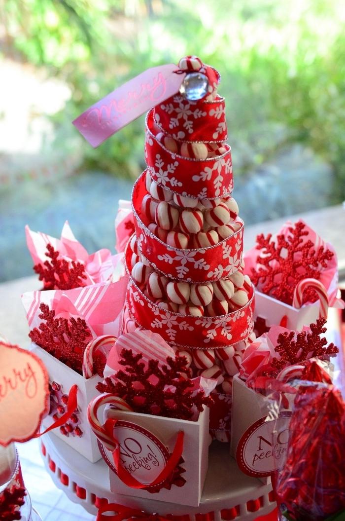 idée comment décorer la table de Noël avec confiserie, diy sapin de Noël en friandises blanc et rouge décoré avec rubans